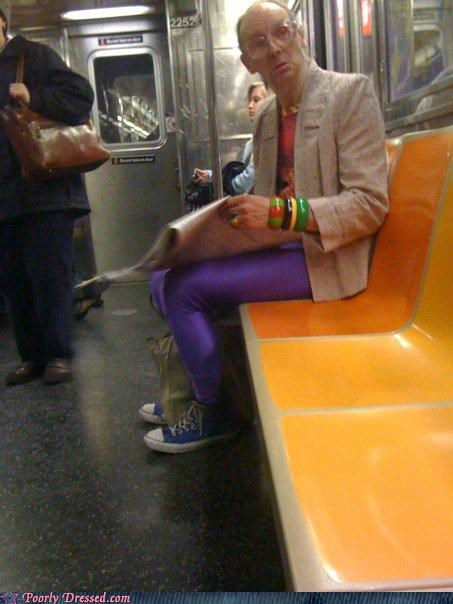 colorful jacket newspaper purple tights wtf