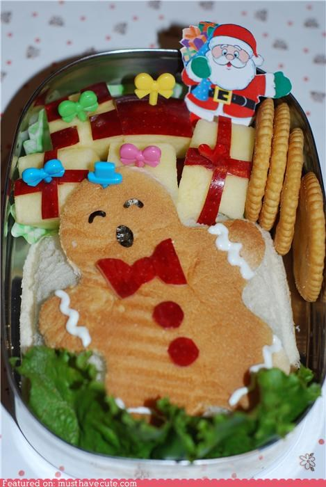 apples,art,bento,creative,epicute,gingerbread man,sandwich