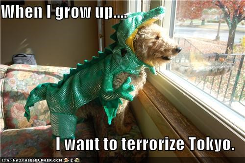 costume,dragon,dreams,dressed up,godzilla,Hall of Fame,lizard,sheepdog,terrorize,terrorizing,tokyo,when I grow up