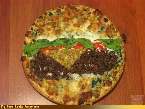 Beef,burger,burger pizza,burgers and sandwiches,hamburger,pizza,pizza burger,things that look like things,toppings