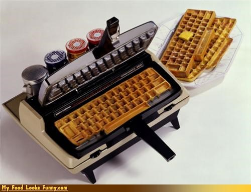keyboard,keyboard waffles,meals,typewriter,waffle iron,waffles