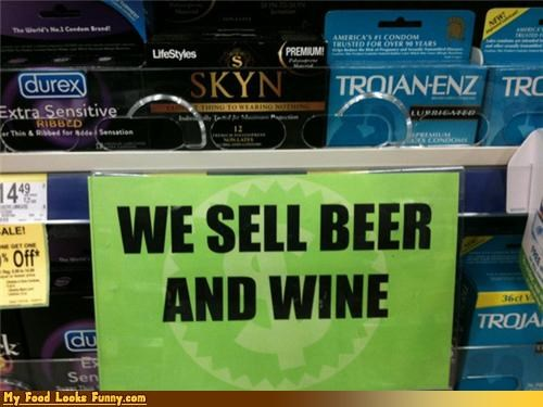 beer,condoms,drink,signs,we sell beer and wine,wine