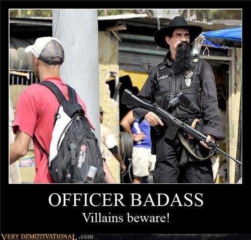 bad ass cool hat epic beard guns officer - 4213683712