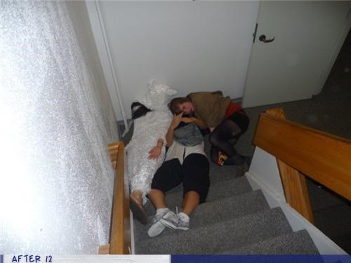 costume,passed out,sheep,stairs,wtf
