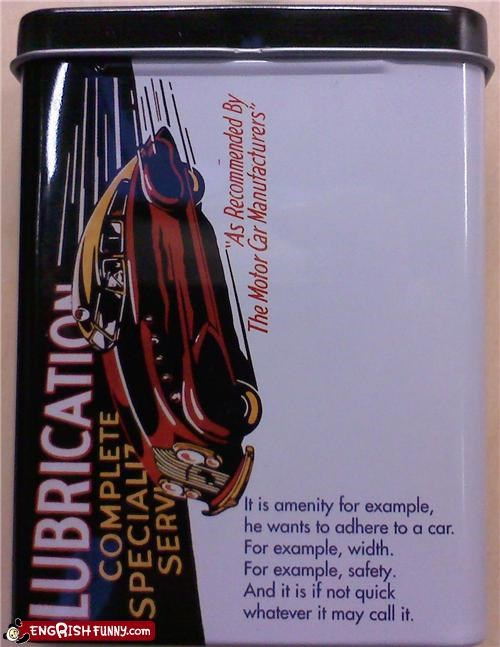 car engrish example food tin
