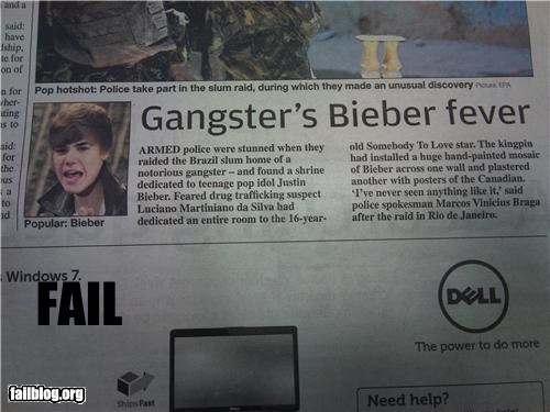 failboat gangster g rated justin bieber newspaper police shrines street cred - 4215883264