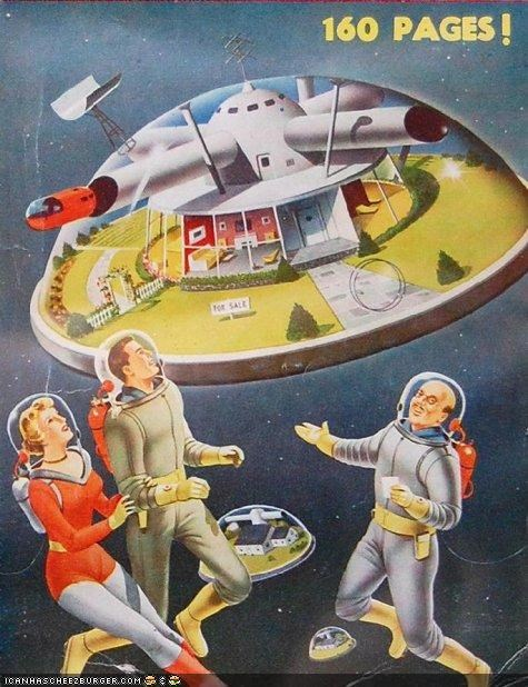 art funny future illustration space vintage - 4216331008