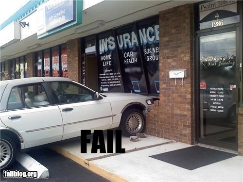 Car insurance fail She crashed in at the right place.