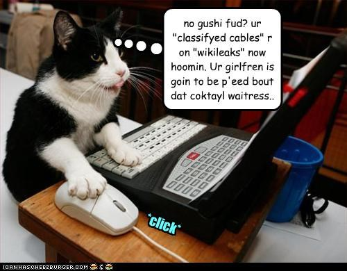 "*click* *click* no gushi fud? ur ""classifyed cables"" r on ""wikileaks"" now hoomin. Ur girlfren is goin to be p'eed bout dat coktayl waitress.."