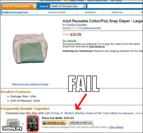 adult diapers,amazon,failboat,g rated,modern warfare,online shopping,pairing,video games