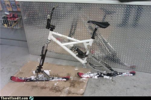 abomination,bicycle,dual use,ski,snow,winter