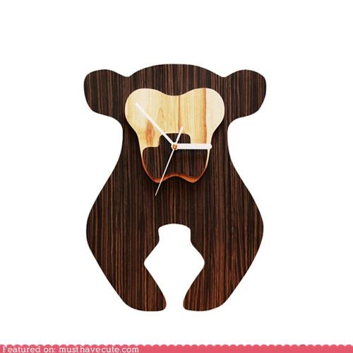 bear,clock,decor,Office,wood