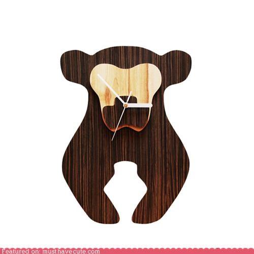 bear clock decor Office wood - 4219603200