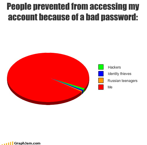 forgetfulness hackers malware passwords Pie Chart spambots
