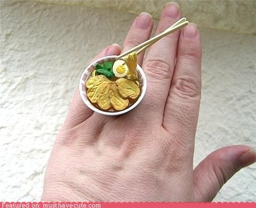 accessory,bowl,chop sticks,food,Jewelry,miniature,ramen,ring