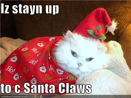 Iz stayn up   to c Santa Claws