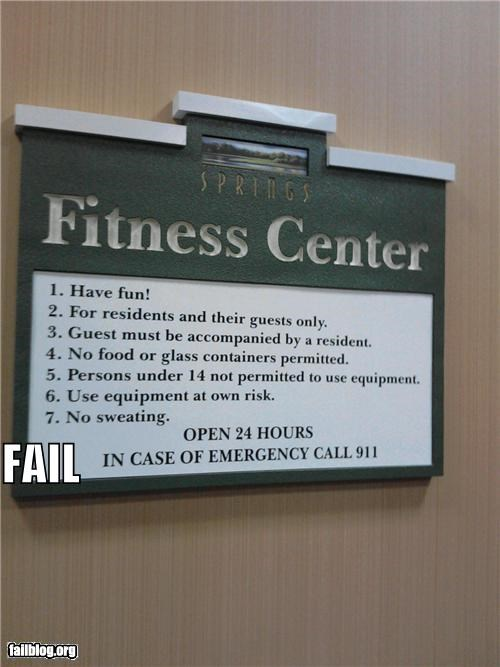 failboat fitness center g rated gym really rules signs working out - 4220876544