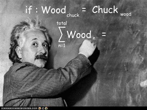 if : Wood chuck = = Chuck wood Wood n=1 _ \ / _ n total