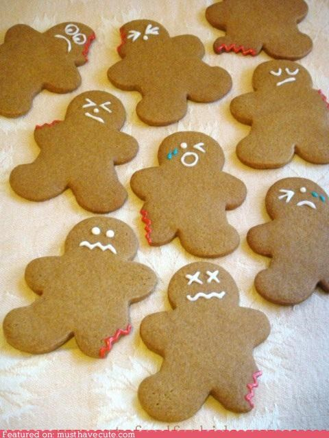 bite,broken,cookies,epicute,gingerbread,gingerbread men,injured,Sad