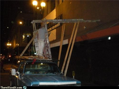 cautionary fail,ladders,pickup,wtf