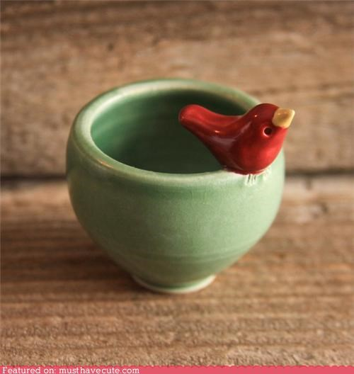bird bowl ceramic Teeny tiny - 4222793984