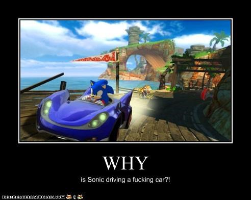 WHY is Sonic driving a fucking car?!