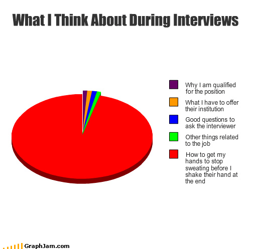 fist bump handshakes interviews Pie Chart questions sweating