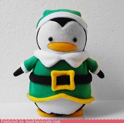 elf,green,hat,penguin,Plush,soft