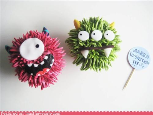 cupcakes,epicute,faces,fondant,frosting,monster,Party,scary,spiky