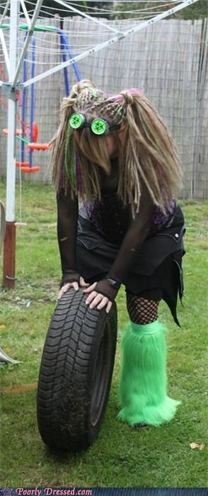 club kid,dreads,fuzzy,leggings,tire,wtf