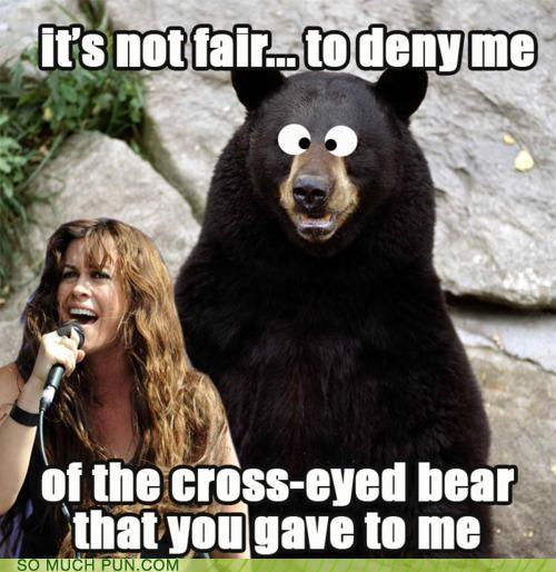 accent alanis morisette cross i bear cross-eyed bear dialect lyrics mispronounced parody single song sounds like words you oughta know - 4226298624