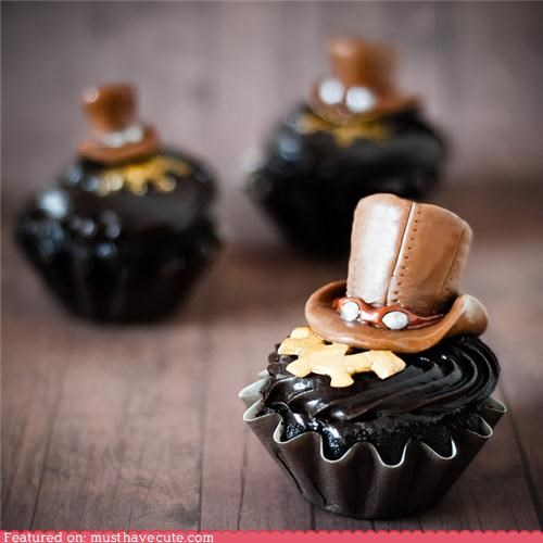 chocolate,cupcakes,epicute,goggles,hat,Steampunk,tootsie roll