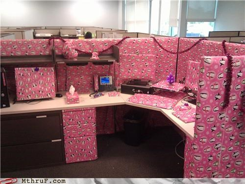 cubicle prank,decor,Kill It With Fire,pink