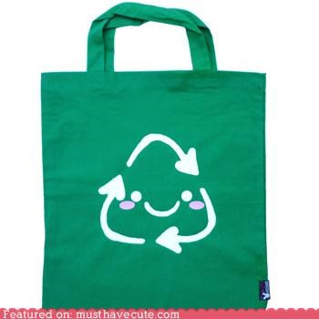 bag ecological face green recycling tote - 4226791680
