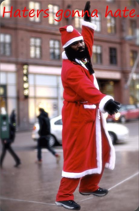 awesome black santa haters gonna hate slackline - 4227033600