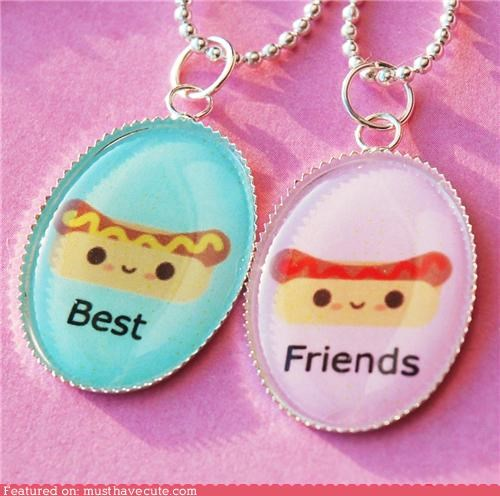 Hot Dog Ketchup and Mustard BFF Friendship Necklace