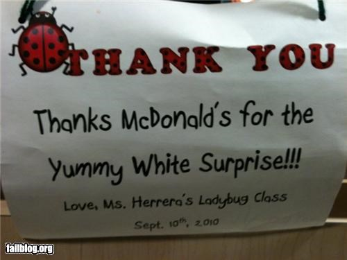 failboat gratitude innuendo McDonald's notes really school surprise thanks - 4230367488