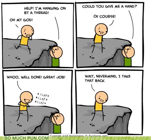 cyanide-happiness,double meaning,give me a hand,hand,misinterpretation,word choice