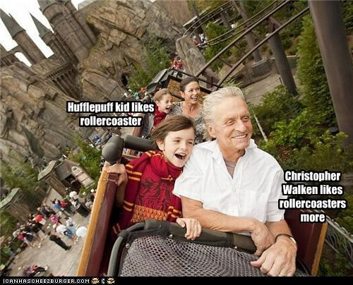 Hufflepuff kid likes rollercoaster Christopher Walken likes rollercoasters more