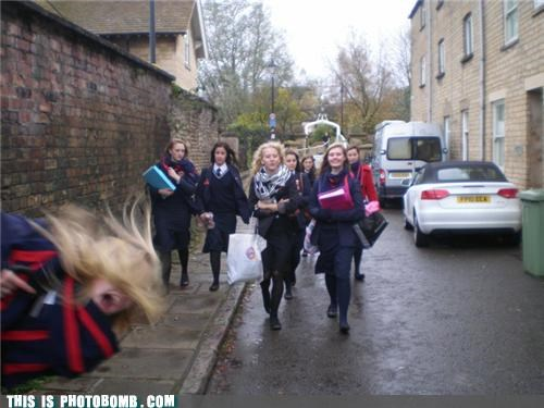 action shot europe photobomb puns school girls