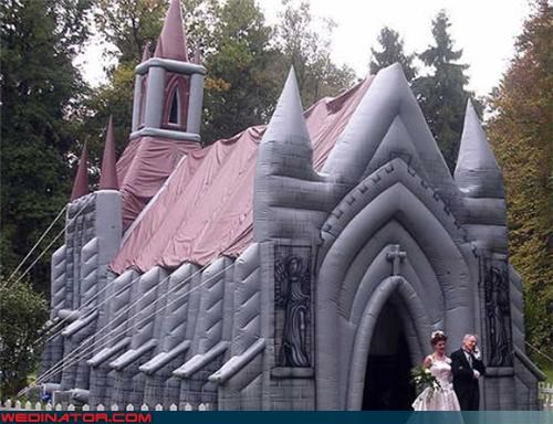 awesome inflatable church,bride,funny wedding photos,funny wedding trend,groom,inflatable church,inflatable wedding,News and Trends,surprise,technical difficulties,Wedding Themes,wtf