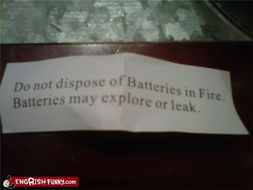 battery explore fire warning