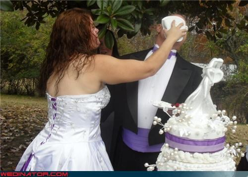 bride,bride cakes the groom,bride-smashes-cake-in-grooms-face,cake face,Crazy Brides,crazy groom,Dreamcake,eww,fashion is my passion,funny wedding cake picture,funny wedding photos,groom gets caked,surprise,were-in-love,Wedding Themes