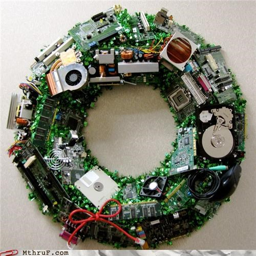 christmas,computer,creativity in the workplace,decoration,wreath