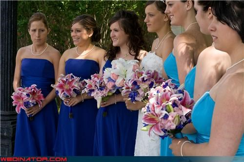 bride,bridesmaids,eww,fashion is my passion,funny bridesmaid picture,funny wedding photos,matching bridesmaids,miscellaneous-oops,one of these things is not like the other,serious bridesmaid,technical difficulties,wedding party,whoops