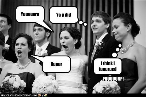 bride derp groom reception wedding yawn