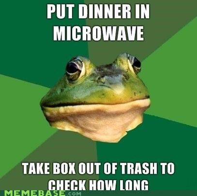 dinner,foul bachelor frog,microwave,trash