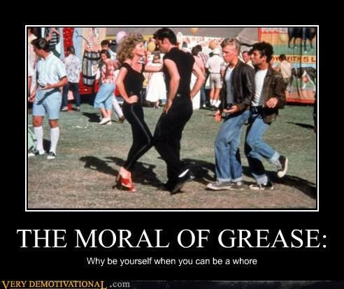 grease,john travolta,morals,movies,Olivia Newton-John,whores