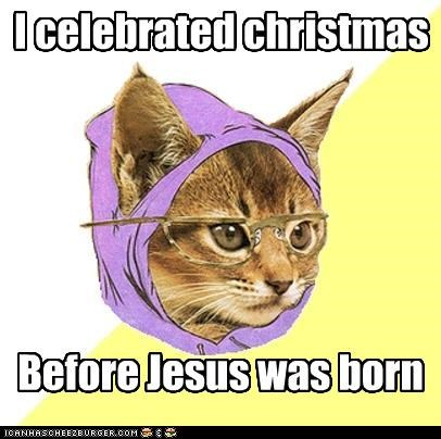 Hipster Kitty jesus Xmas