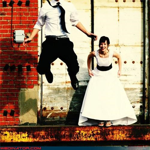 bride funny wedding photos groom jumping for joy miscellaneous-oops technical difficulties were-in-love